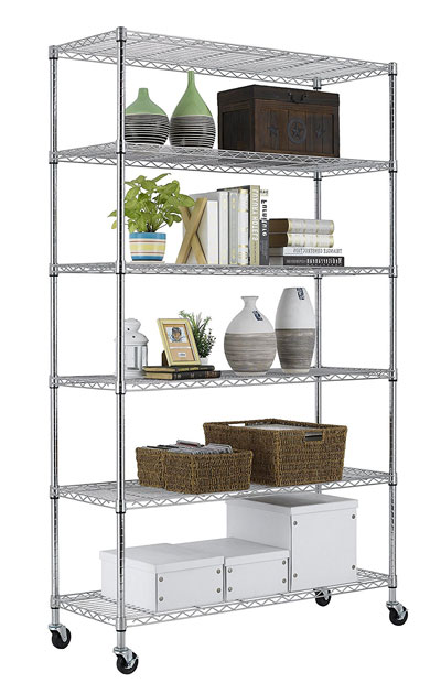 PayLessHere Chrome 6 Shelf Commercial Adjustable Steel shelving rack system
